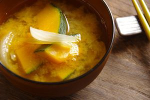 Miso soup of pumpkin